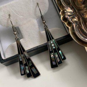 Vintage Mexico alpaca silver abalone fan earrings